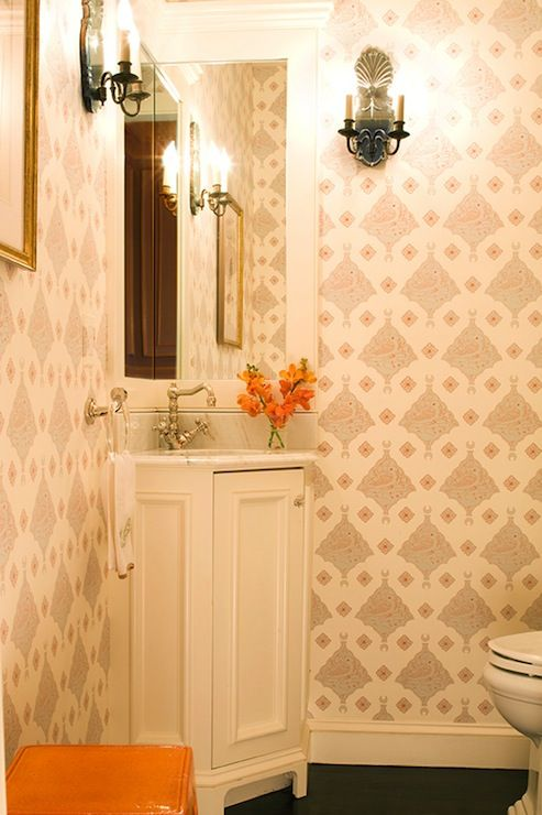 Photos On Small powder room with corner bathroom vanity and marble countertop with polished nickel vintage faucet kit