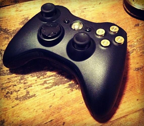 Custom Xbox 360 Controller With Bullet Buttons Cool Material Xbox 360 Controller Xbox Controller Bullet Button