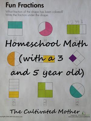 Homeschool math plan for preK and kindergarten/first grade.