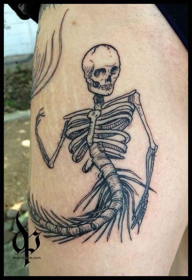 Mermaid Skeleton   MrDavidPoe   Tattoo Artist   Austin, TX