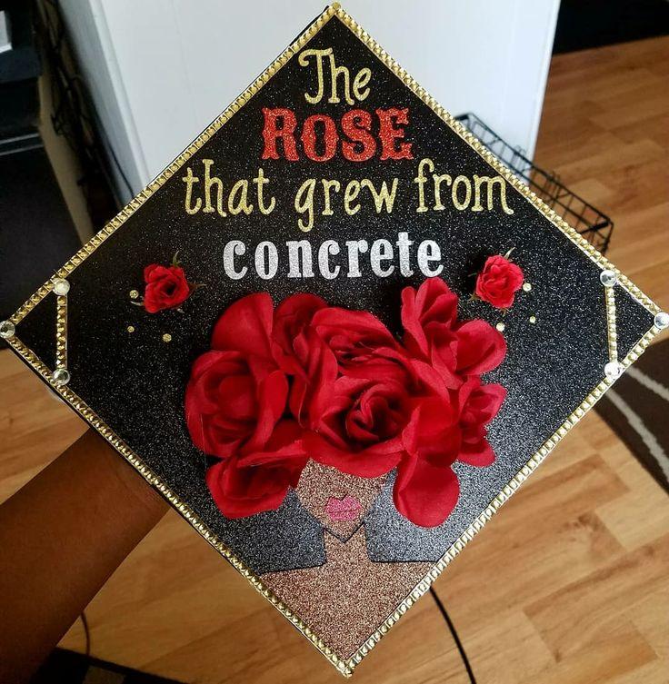 Tupac inspired graduation cap with roses. Flower Graduation cap. Instagram: @creativitay_