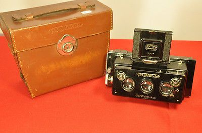 Voigtlander Stereflektoskop stereo camera for 45 x 107 plates ca1929 with case