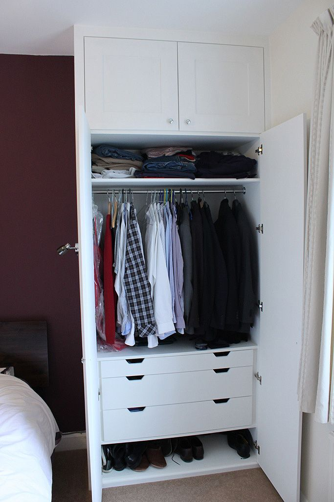 Traditional fitted wardrobe with drawers, hand painted