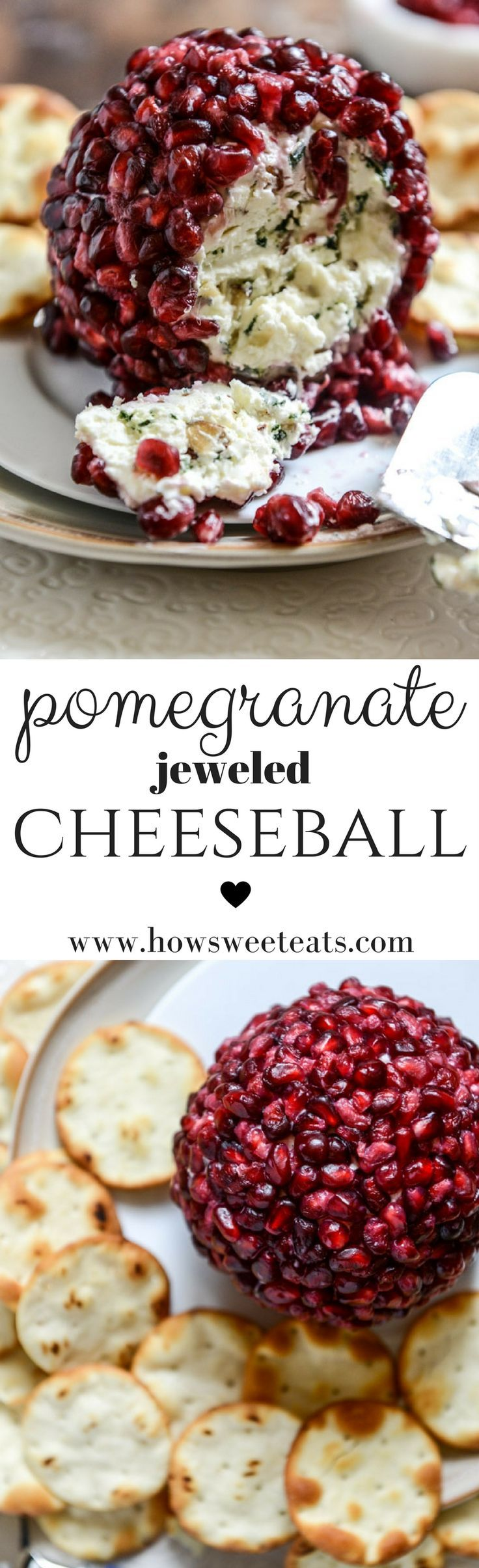 Pomegranate Jeweled Cheeseball by @howsweeteats I howsweeteats.com #thanksgiving #appetizers