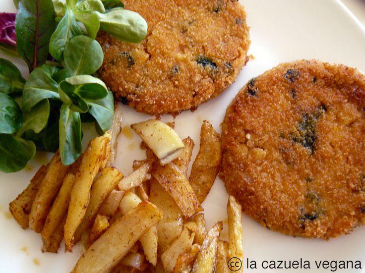 La Cazuela Vegana: Hamburguesas de mijo, espinacas y nueces con patatas especiadas marroquíes