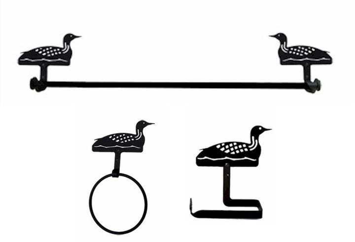 Wrought Iron Loon Bath Set with Traditional Style Toilet Paper Holder #VillageWroughtIron