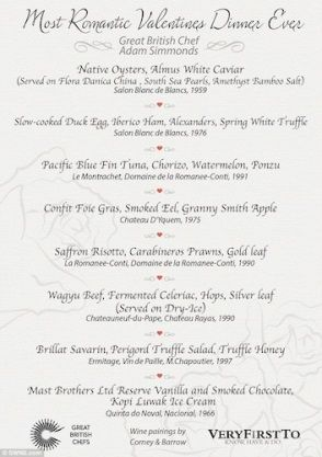 This over-the-top Valentine's Day dinner menu that costs nearly $100, 000 is created by Chef Adam Simmonds. After you eat these flavorful bursts, you may feel heart palpitations after a meal. During two lovebirds sharing a meal, you have an experience where romance has so much beauty. Cost: Nearly $100, 000 URL: http://www.delish.com/food/recalls-reviews/worlds-most-expensive-valentines-day-menu-is-almost-100-grand
