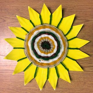 Art with Ms. Gram: weaving - discuss navajo art;  cut plates into flowers!