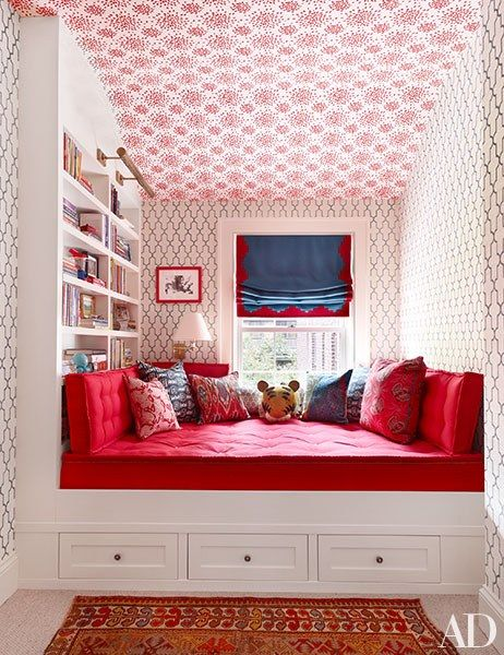 This lively kid's room inside a historic Brooklyn townhouse is pattern-mixing done right, with geometric wallpaper lining the walls and ceiling. | archdigest.com