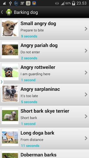 This free Barking Dog Sounds library includes more than fifty different types of dog sounds. Dogs breeds: doberman, pitbull, schnauzer, rottweiler, labrador, german shepherd, cocker spaniel, whistles, puppies.Barking Dog is a great collection of different type of barking, howling, whining, growling, angry dogs sounds, puppy sounds and whistles. Your dog, cat or other animal will surely react on some of these sounds. Can stop dogs barking immediately choosing some barks sound. It's ...