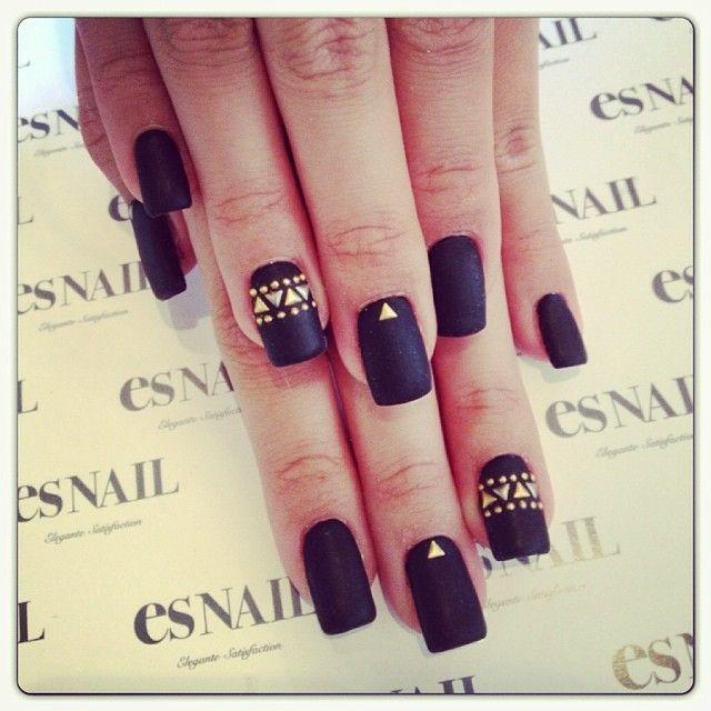 .@esnail_la | Matte black nails ;) ☆price→one color + Art on 2Nails +add 2stones +add matte...