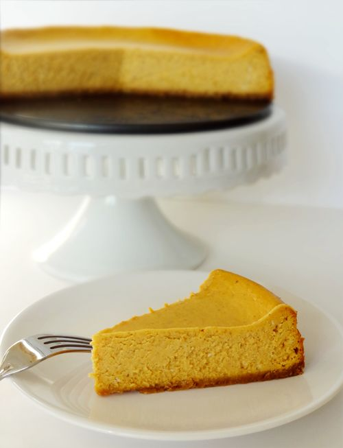 Pumpkin Cheesecake:  Crust 1 1/4 cup vanilla wafers, crushed 5 tbsp butter 5 tbsp sugar   Cheesecake filling 3 8-ounce packages of cream cheese, softened 1 cup sugar 3 tbsp flour 1 tsp pumpkin pie spice 1 cup canned pumpkin 4 eggs 1/2 tsp vanilla extract