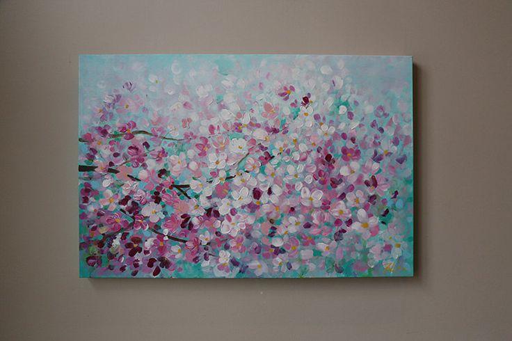 pintura de la flor acrílico pintura lastexturas treen by artbyoak1 | Etsy