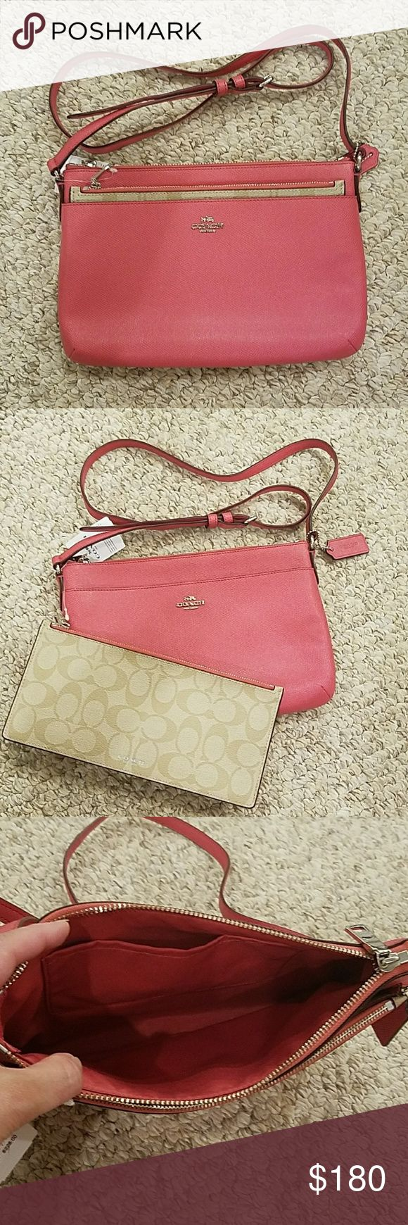 """Pink Coach purse Pink Coach purse with removable pouch, 1 front pocket, 1 top pocket with zipper closure, and 1 interior pocket.   Approx 10"""" long 7"""" tall Coach Bags Crossbody Bags"""