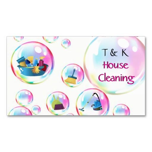 cleaning services bubbles business card cleaning service