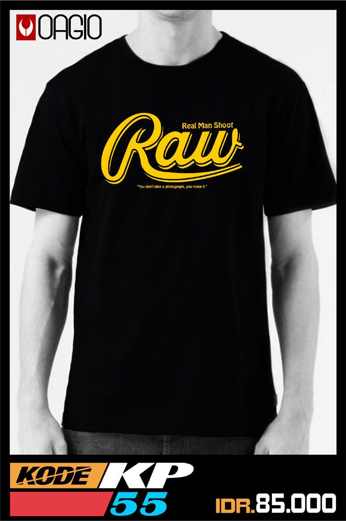 #kaosdistro Kaos distro Bandung terbaru warna hitam dengan tulisan RAW dengan bahan darin katun combed 20s, ukuran M, L, dan XL. Kode produk OAGIO KP55.