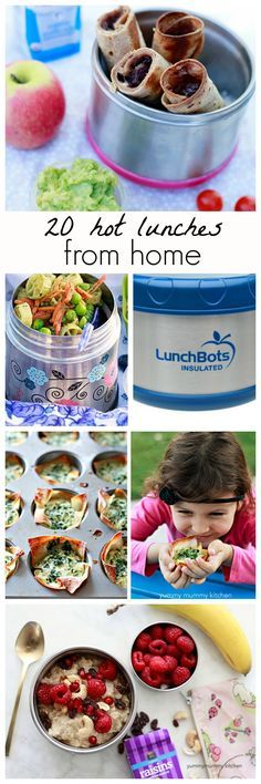 What to pack in your insulated food containers. Great list of 20 lunch ideas for school or work to keep you warm on cold days.
