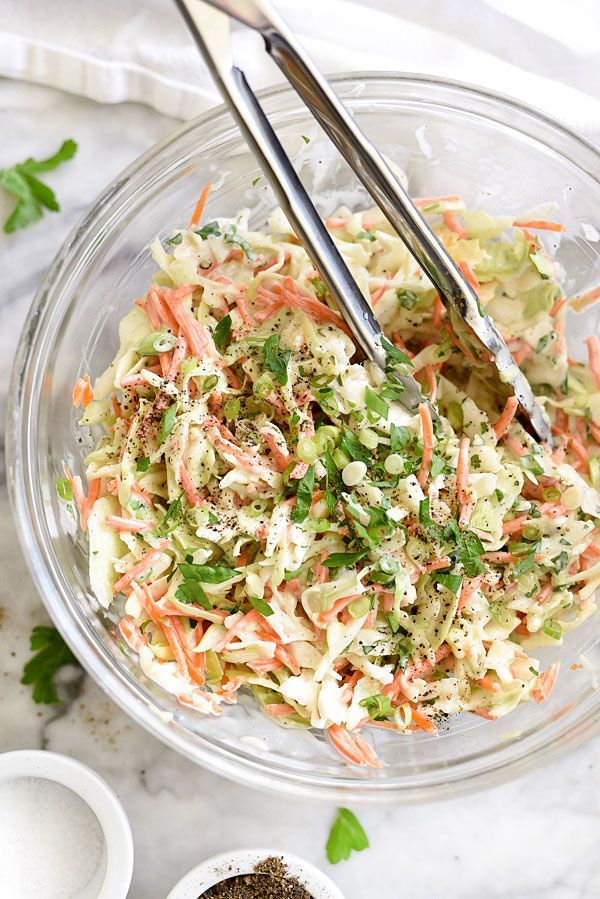 My favorite creamy coleslaw stays crunchy, not soupy, and gets a bit of bite in this slightly sweetened, vinegar spiked mayonnaise dressing.