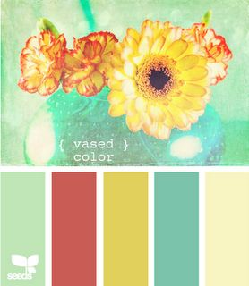 love this color inspiration. mint + raspberry + mustard + teal +cream.
