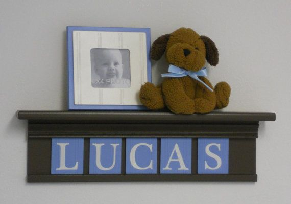 Baby Boy Nursery Decor - Baby Name Signs - 5 Pastel Blue ...