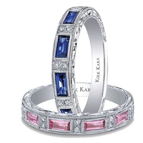 This ladies wedding ring set from the Kirk Kara Charlotte collection are in 18K white gold and feature pink and blue sapphires with beautiful engraving throughout the rings. Style SS6685P-B1 and SS6685-B1 · What Sparkles Most Is You