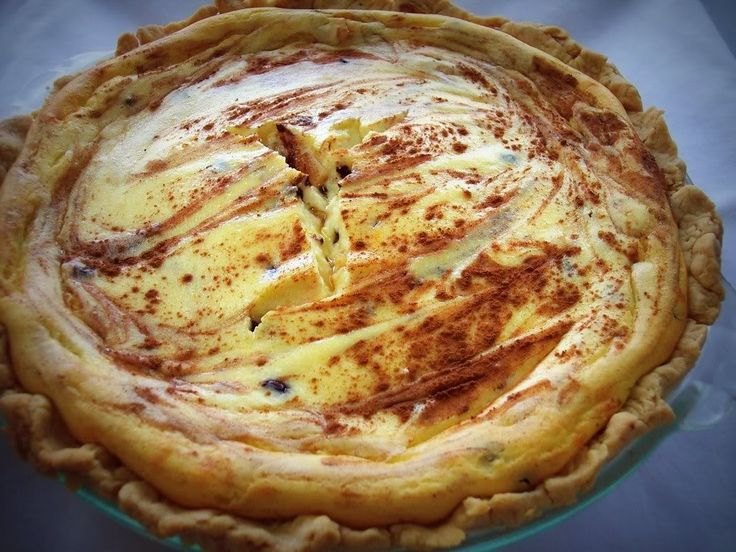 """Sweet Ricotta Pie... dessert for brunch. """"If you like the flavor of cannolis then you're going to love this. A blend of ricotta, orange zest, candied orange peel, mini chocolate chips and a hint of cinnamon flavors this pie."""""""