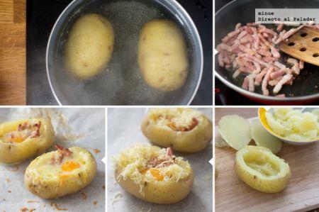 Patata asada rellena de huevo y bacon - elaboración