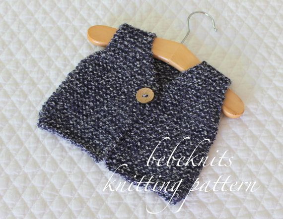 This listing is for a simple French style tiny baby body warmer/vest pattern in sizes preemie/newborn and 0-3 months. Also available in larger sizes! Pattern makes an adorable little one piece sweater vest that knits up quickly in a worsted weight yarn. Sweater buttons in front and can be reversed when finishing to make button on either side for a boy or girl. Designed to keep baby warm and cozy and easy to get on and off a wiggly little one. It would make a darling baby gift for f...