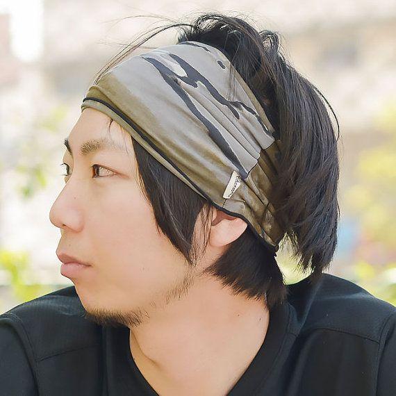 Japanese Quality Tie dye Elastic head wrap Bandanna Headband Hand Dyed Wide unisex Men Women th-mra