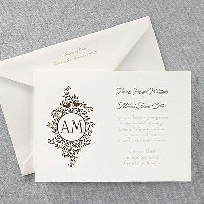 Birds On Vines Letterpress   Invitation   Bird Wedding Invitations