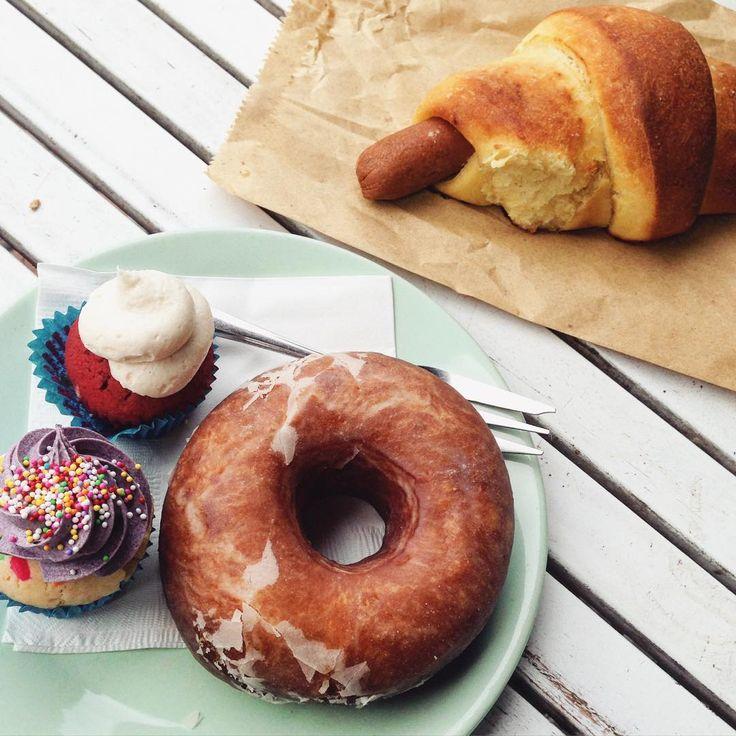 """""""Can't go past the bronut at the Mister Nice Guy bakery!  @mister_nice_guys_bakeshop #ascotvale #melbourne #bronut #cupcake #redvelvet #unicorn #vegan…"""""""