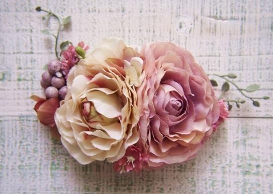 アンティークラナンキュラスとツタの花冠&リストレット2点SET - 大人可愛い花冠 ブライダル・ウェディング 【アルモニ】