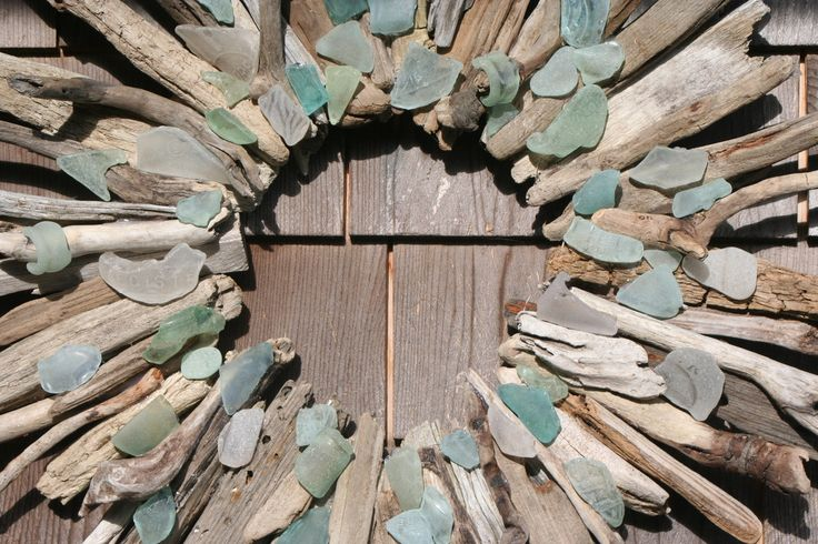 Driftwood Wreath with beach glass....a mirror would go perfect in there!