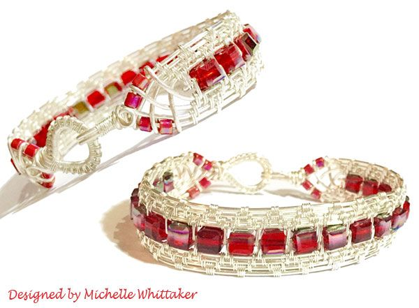 Wire Weave Cuff with 6mm Crystal Cubes