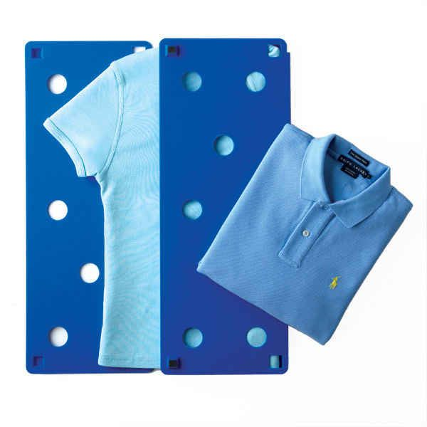 Where was this when I had to fold so many shirts as a child! :) This device to get perfectly folded shirts