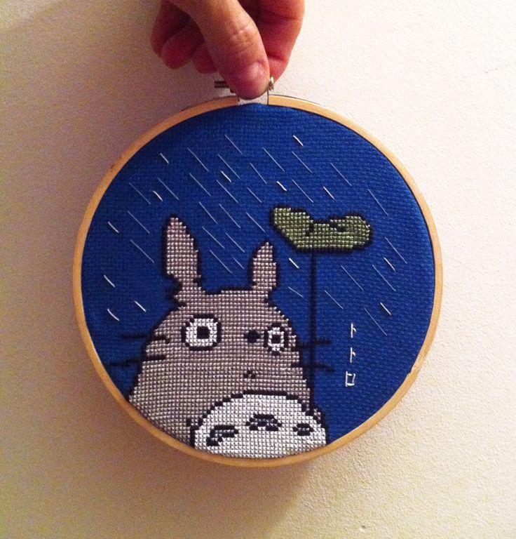 Cute Totoro Cross Stitch, but the link is connected to a Spanish website…