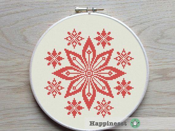 modern cross stitch pattern red flower ornament geometric
