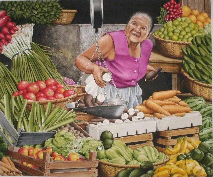 En el Mercado--------Pintura de Enrique Escher, Honduras