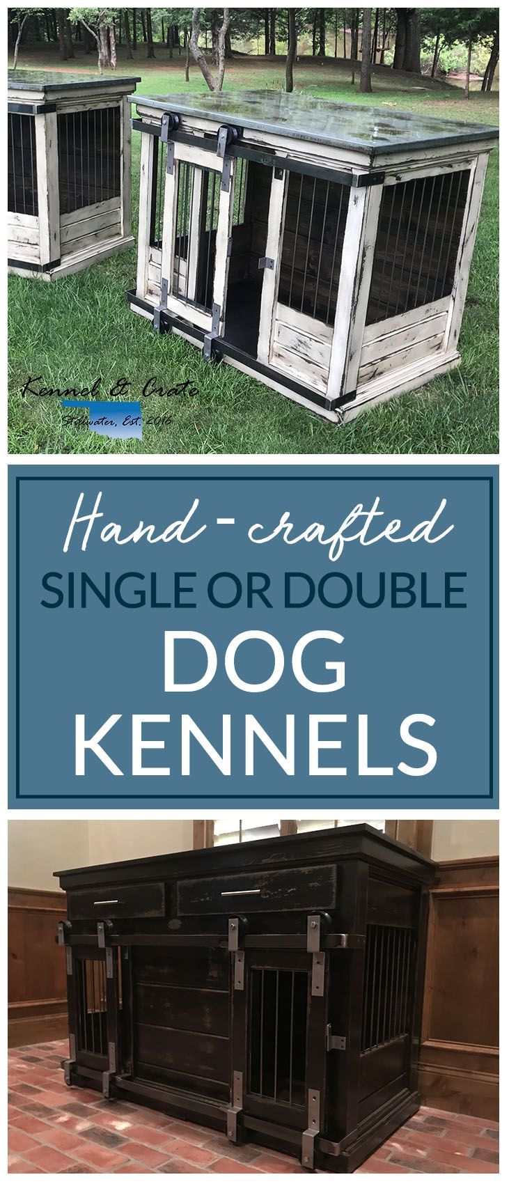 Designer indoor single or double dog kennels! Replace your wire dog crate with a beautiful piece of functional furniture! Great conversation piece! #Kennelandcrate#Customorders#Stylishdogkennel#dogkennel #Dog