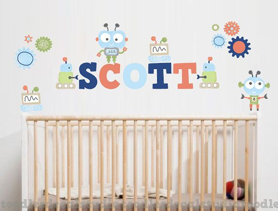 Robot Baby Bot Retro Personalized Fabric Boys Name Kids Wall Decals Stickers Not Vinyl
