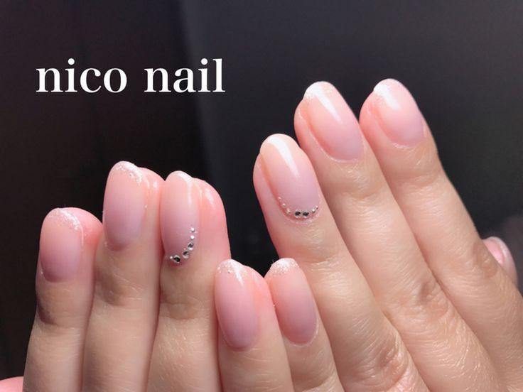 浜松市 中区 自宅ネイルサロン nico nail ニコネイル:美爪さんのヌーディネイル、先端にラメと薬指にスワロフスキーを!