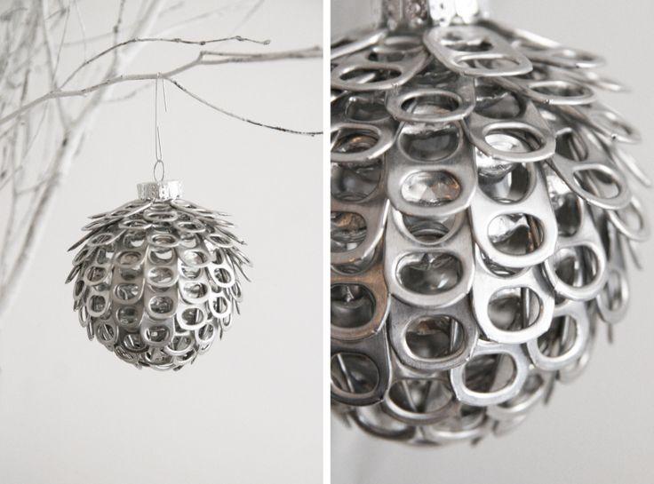 DIY ornament: soda can tabs glued to clear plastic ornament