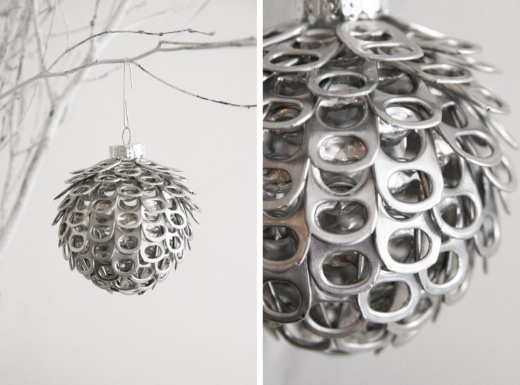 DIY ornament: soda can tabs glued to clear plastic ornament