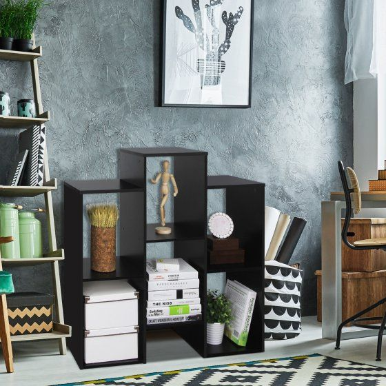 Furinno 12221BK Parsons Staggered Cube Bookcase with 6 Shelves, Black