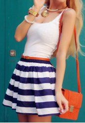 El vestido de la cucharada de moda sin mangas empalmadas las mujeres rayadas