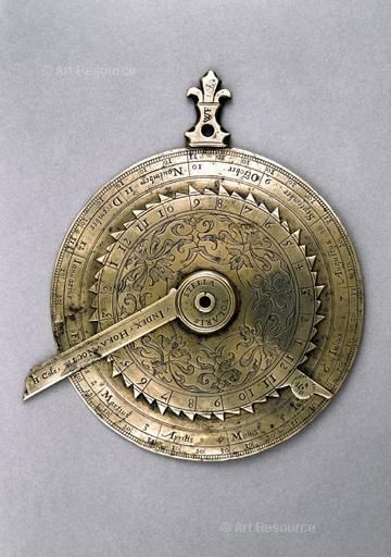 Astronomical compendium. London, England, AD 1593. Made for Robert Devereux, Earl of Essex, the favorite of Elizabeth I. It consists of a nocturnal, a latitude list, a magnetic compass, a list of ports and harbours, a perpetual calendar and a lunar indicator.
