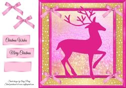 Beautiful Pink Reindeer Silhouette 8x8 on Craftsuprint - View Now!