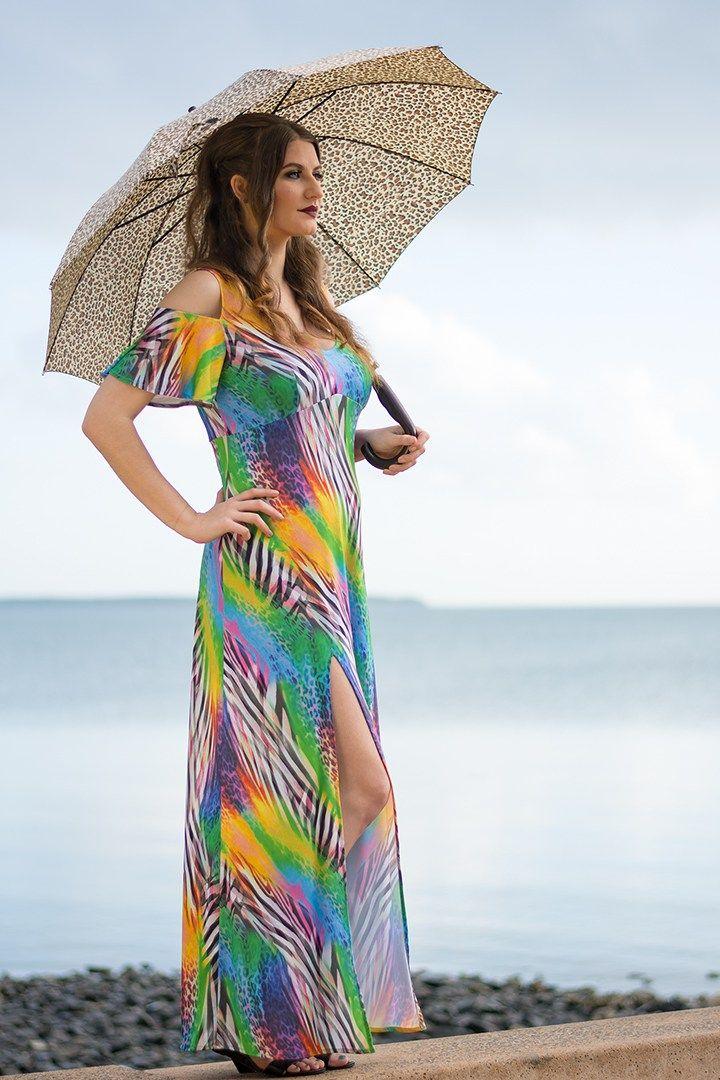 Fiesta Maxi Dress in Rainbow Zebra