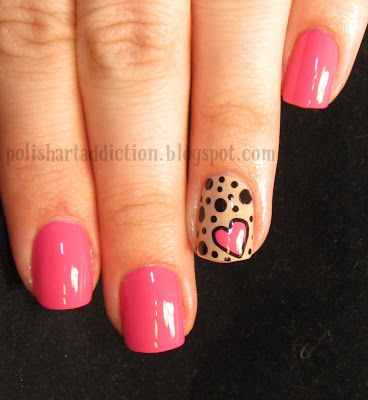 Heart and dots nail art.