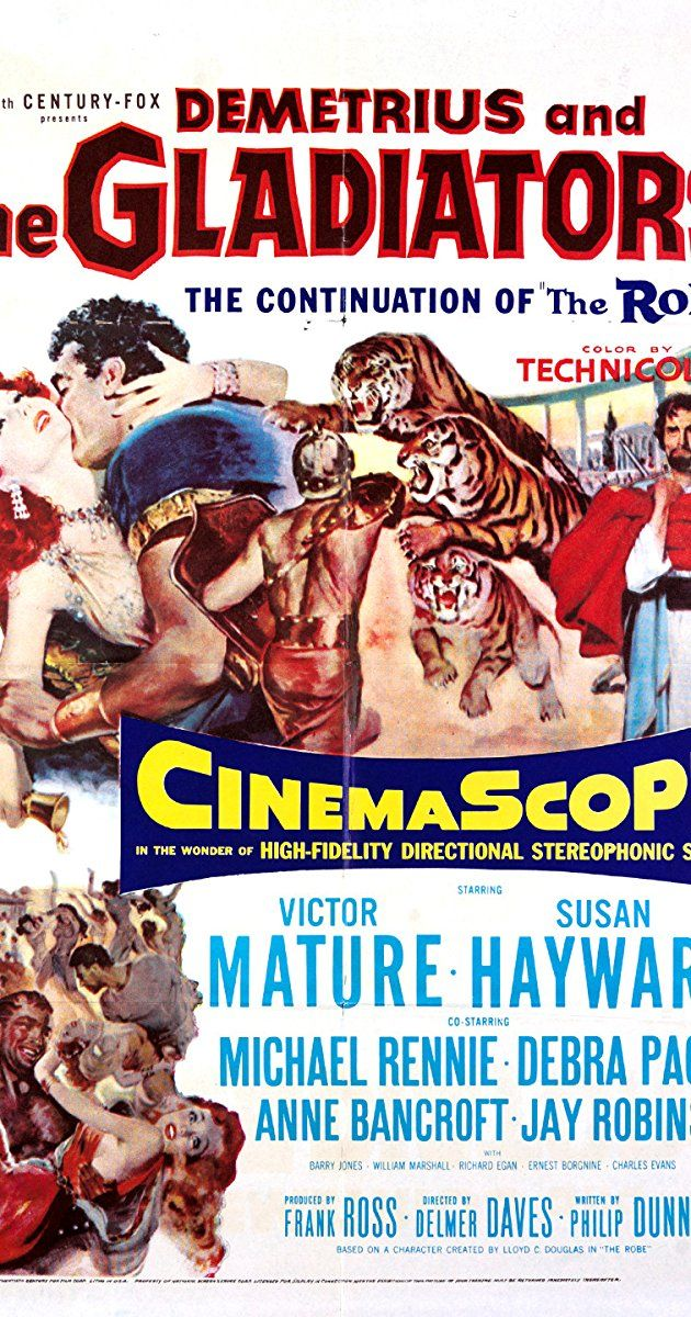 Directed by Delmer Daves. With Victor Mature, Susan Hayward, Michael Rennie, Debra Paget. In 1st century Rome, Christian slave Demetrius is sent to fight in the gladiatorial arena and Emperor Caligula seeks Jesus' robe for its supposedly magical powers.